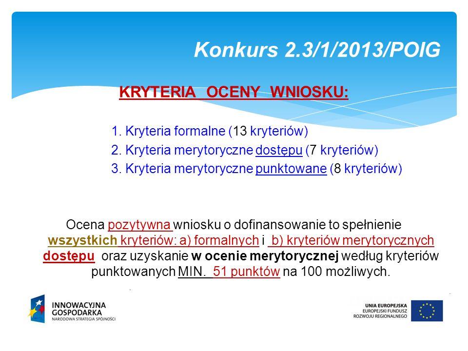 KRYTERIA OCENY WNIOSKU: 1. Kryteria formalne (13 kryteriów) 2. Kryteria merytoryczne dostępu (7 kryteriów) 3. Kryteria merytoryczne punktowane (8 kryt