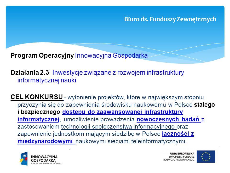 Program Operacyjny Innowacyjna Gospodarka Działania 2.3 Inwestycje związane z rozwojem infrastruktury informatycznej nauki CEL KONKURSU - wyłonienie p