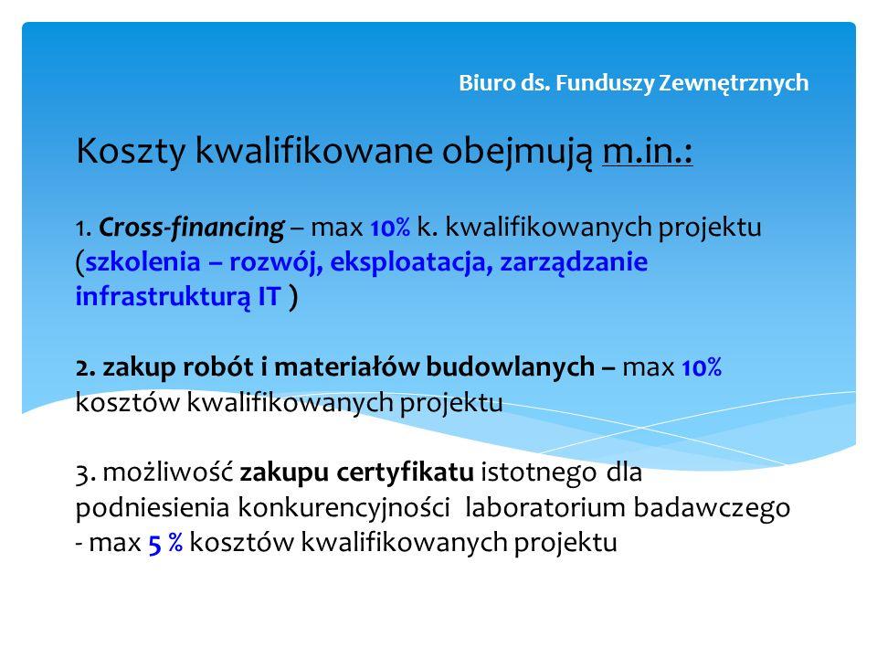 Koszty kwalifikowane obejmują m.in.: 1. Cross-financing – max 10% k. kwalifikowanych projektu (szkolenia – rozwój, eksploatacja, zarządzanie infrastru