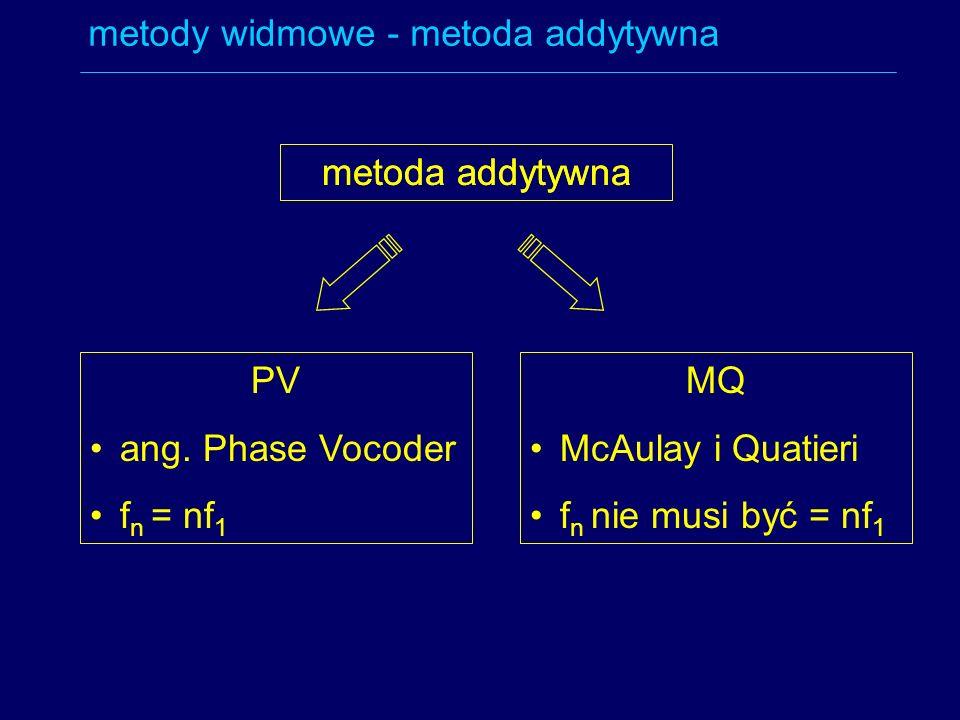 metoda addytywna PV ang. Phase Vocoder f n = nf 1 MQ McAulay i Quatieri f n nie musi być = nf 1