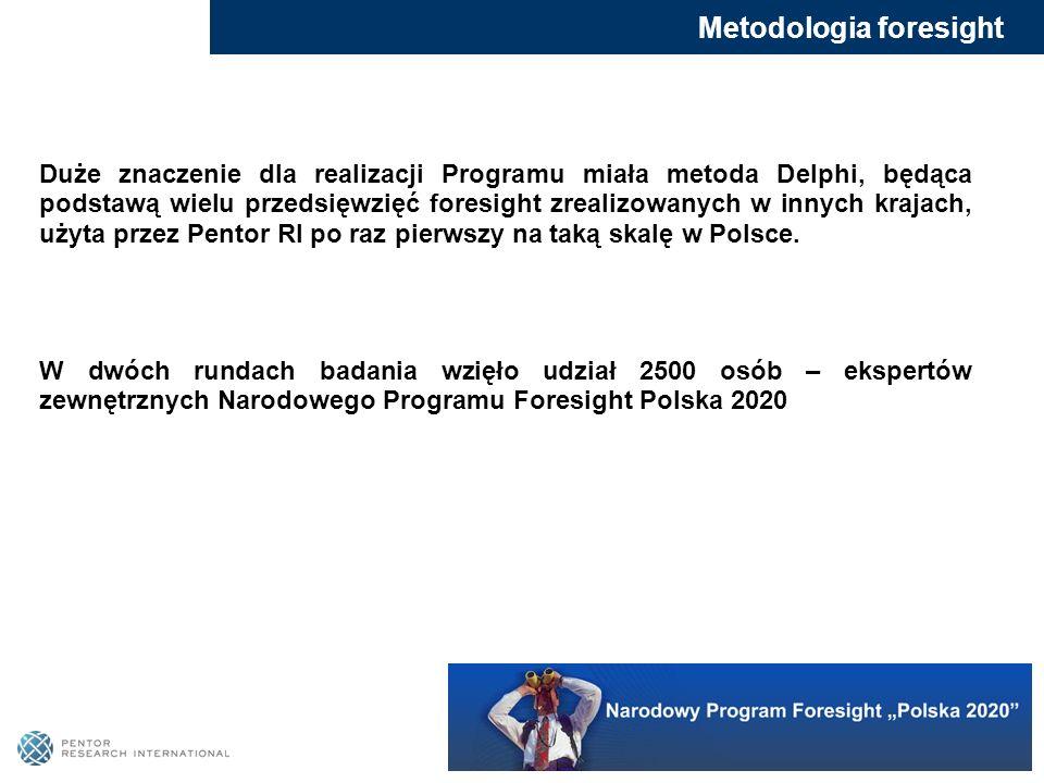 Duże znaczenie dla realizacji Programu miała metoda Delphi, będąca podstawą wielu przedsięwzięć foresight zrealizowanych w innych krajach, użyta przez
