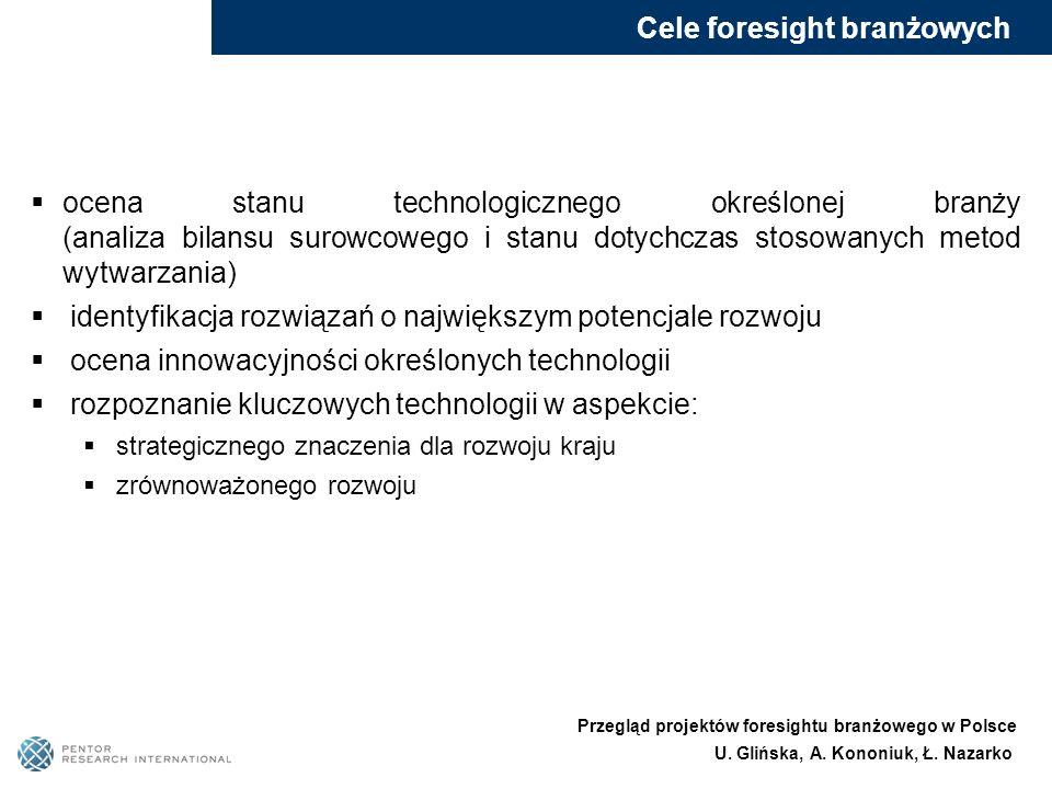 Cele foresight branżowych ocena stanu technologicznego określonej branży (analiza bilansu surowcowego i stanu dotychczas stosowanych metod wytwarzania