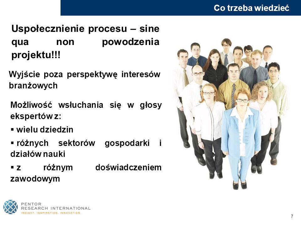 7 Uspołecznienie procesu – sine qua non powodzenia projektu!!! Wyjście poza perspektywę interesów branżowych Możliwość wsłuchania się w głosy ekspertó