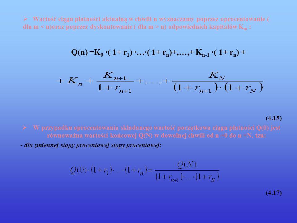 Wartość ciągu płatności aktualną w chwili n wyznaczamy poprzez oprocentowanie ( dla m n) odpowiednich kapitałów K m : Q(n) =K 0 ·( 1+ r 1 ) ·…·( 1+ r