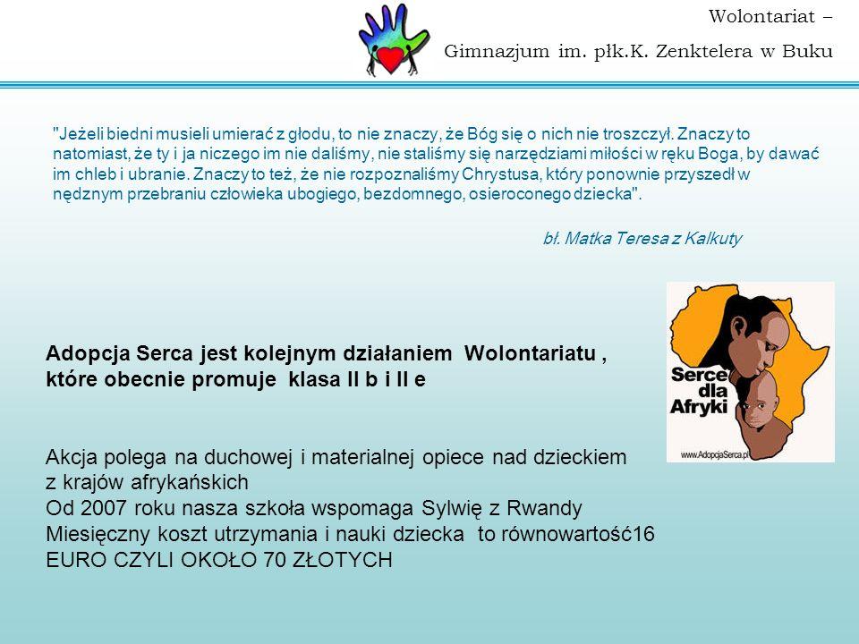 Wolontariat – Gimnazjum im. płk.K. Zenktelera w Buku Adopcja Serca jest kolejnym działaniem Wolontariatu, które obecnie promuje klasa II b i II e Akcj