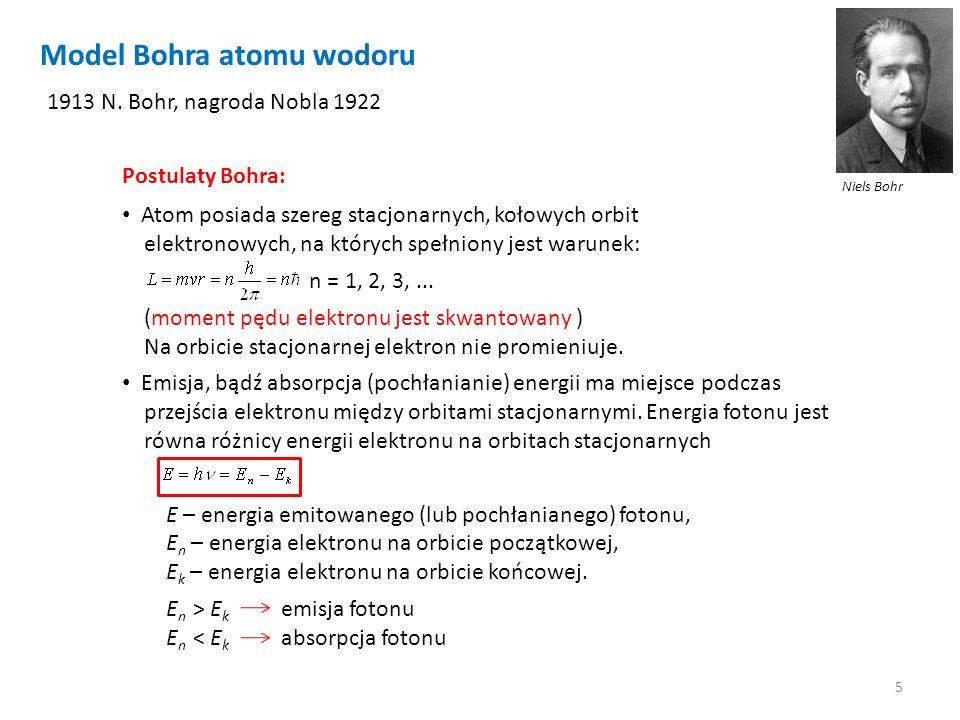5 Model Bohra atomu wodoru Niels Bohr 1913 N. Bohr, nagroda Nobla 1922 Atom posiada szereg stacjonarnych, kołowych orbit elektronowych, na których spe