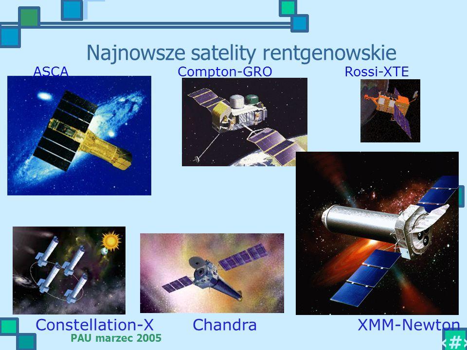 PAU marzec 2005 15 Najnowsze satelity rentgenowskie ASCA Compton-GRO Rossi-XTE Constellation-X Chandra XMM-Newton