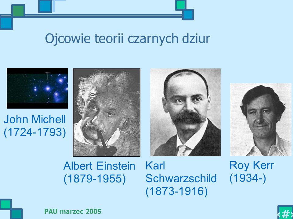PAU marzec 2005 2 Ojcowie teorii czarnych dziur Albert Einstein (1879-1955) Karl Schwarzschild (1873-1916) Roy Kerr (1934-) John Michell (1724-1793)