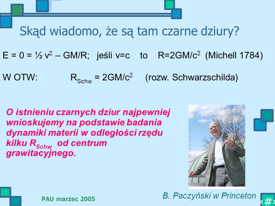 PAU marzec 2005 6 Skąd wiadomo, że są tam czarne dziury? E = 0 = ½ v 2 – GM/R; jeśli v=c to R=2GM/c 2 (Michell 1784) W OTW: R Schw = 2GM/c 2 (rozw. Sc