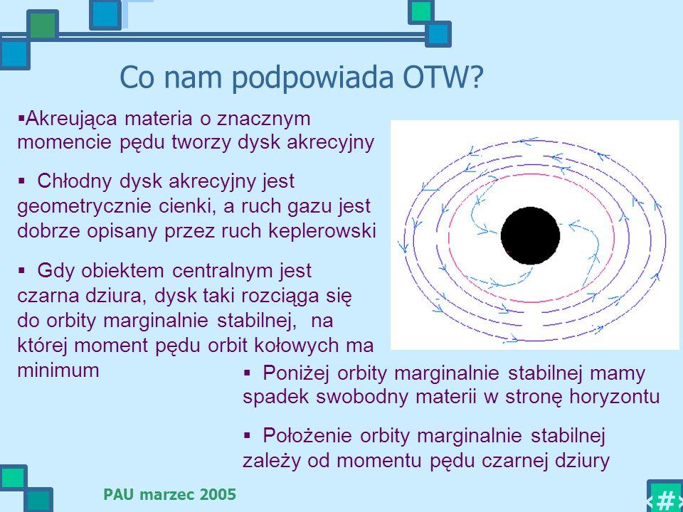 PAU marzec 2005 8 Co nam podpowiada OTW? Akreująca materia o znacznym momencie pędu tworzy dysk akrecyjny Chłodny dysk akrecyjny jest geometrycznie ci