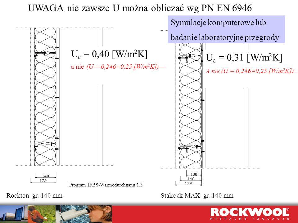 UWAGA nie zawsze U można obliczać wg PN EN 6946 U c = 0,40 [W/m 2 K] a nie (U = 0,246=0,25 [W/m 2 K]) Rockton gr. 140 mm Program IFBS-Wärmedurchgang 1
