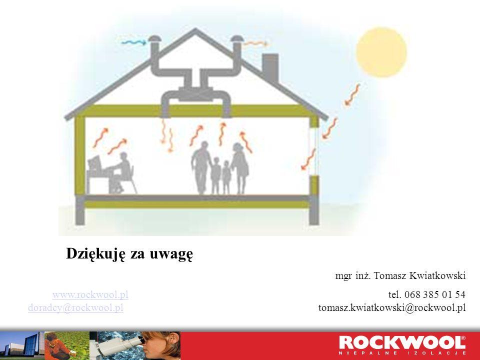 Dziękuję za uwagę mgr inż. Tomasz Kwiatkowski www.rockwool.plwww.rockwool.pl tel. 068 385 01 54 doradcy@rockwool.pl tomasz.kwiatkowski@rockwool.pl dor