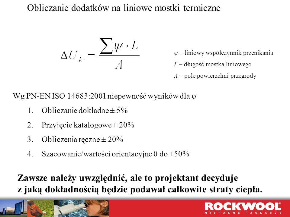 Obliczanie dodatków na liniowe mostki termiczne Wg PN-EN ISO 14683:2001 niepewność wyników dla ψ 1.Obliczanie dokładne ± 5% 2.Przyjęcie katalogowe ± 2