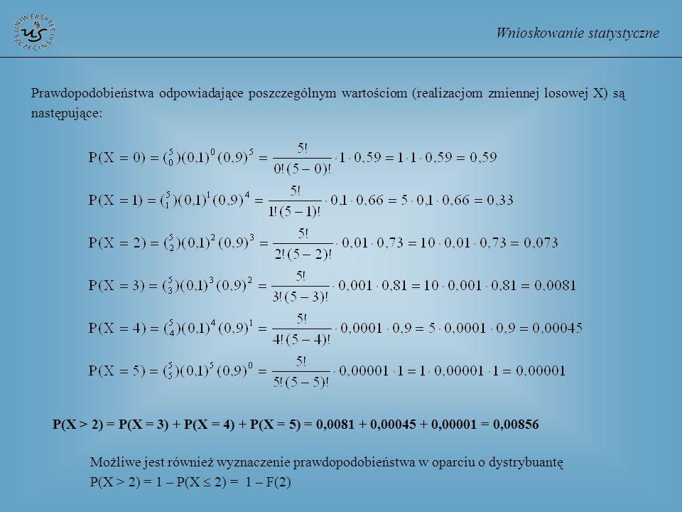 Wnioskowanie statystyczne Prawdopodobieństwa odpowiadające poszczególnym wartościom (realizacjom zmiennej losowej X) są następujące: P(X > 2) = P(X =