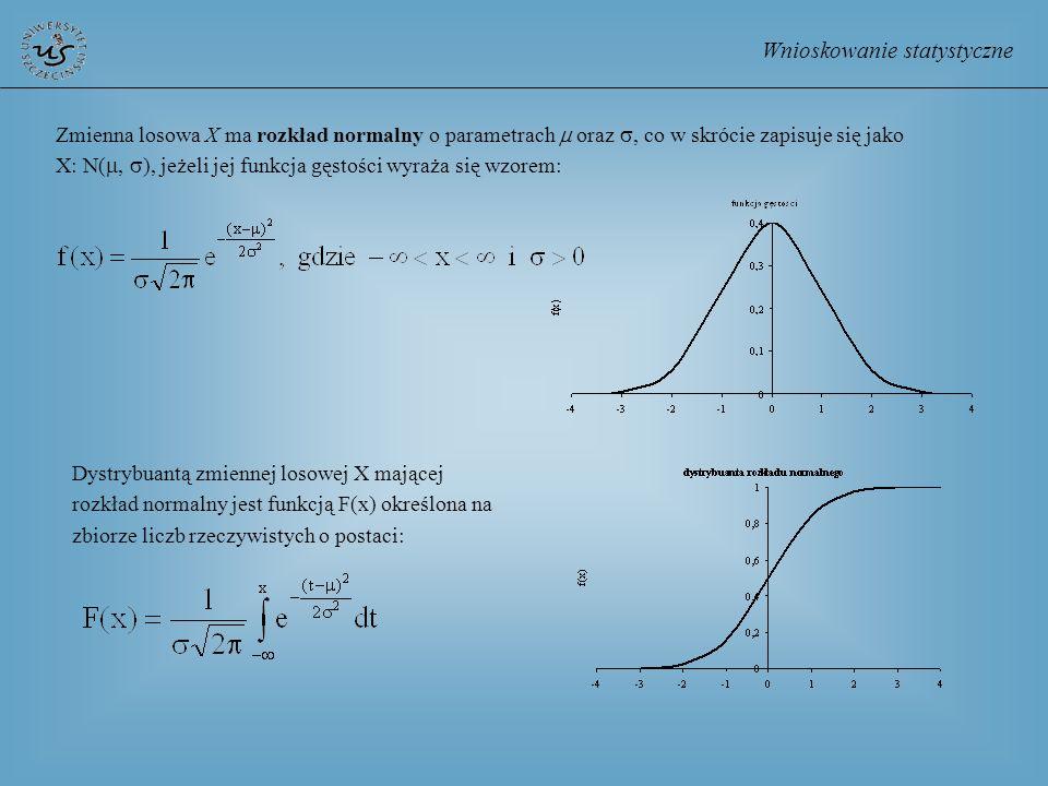 Wnioskowanie statystyczne Zmienna losowa X ma rozkład normalny o parametrach oraz, co w skrócie zapisuje się jako X: N(, ), jeżeli jej funkcja gęstośc