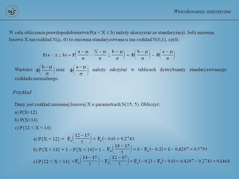 Wnioskowanie statystyczne W celu obliczenia prawdopodobieństwa P(a < X b) należy skorzystać ze standaryzacji. Jeśli zmienna losowa X ma rozkład N( to
