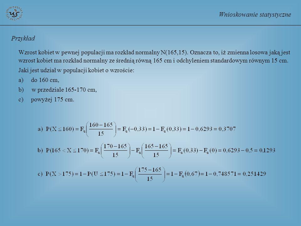 Wnioskowanie statystyczne Przykład Wzrost kobiet w pewnej populacji ma rozkład normalny N(165,15). Oznacza to, iż zmienna losowa jaką jest wzrost kobi