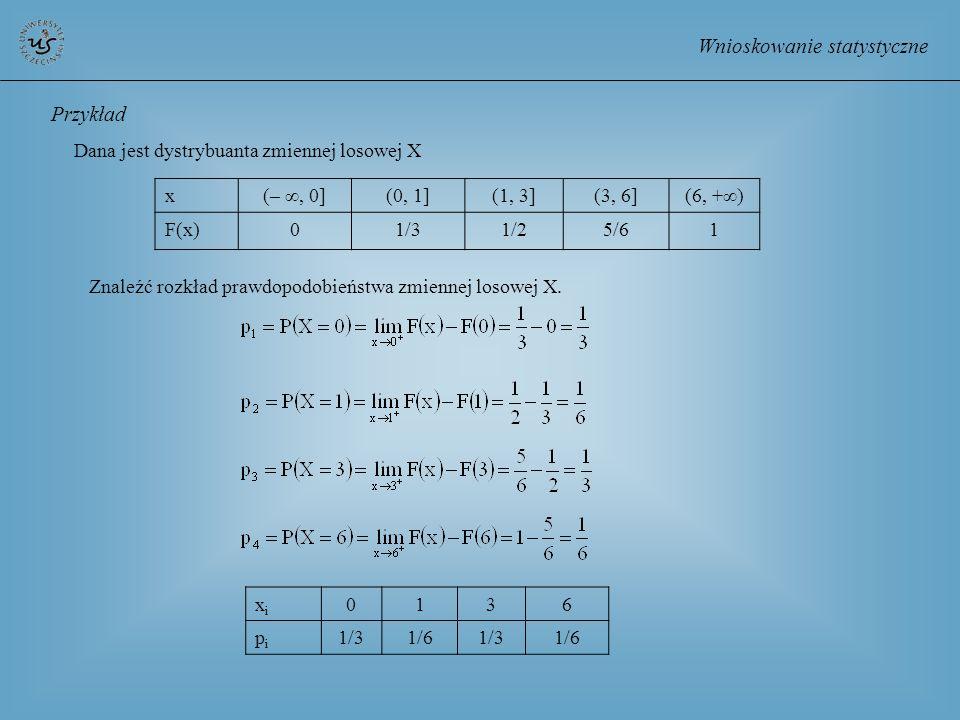 Wnioskowanie statystyczne x(–, 0](0, 1](1, 3](3, 6](6, +) F(x)01/31/25/61 Przykład Dana jest dystrybuanta zmiennej losowej X Znaleźć rozkład prawdopod