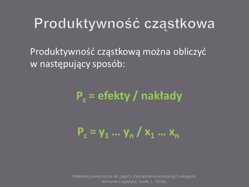Materiały pomocnicze do zajęć z Zarządzania produkcją i usługami, kierunek Logistyka, (wykł. L. Wicki) Produktywność cząstkową można obliczyć w następ