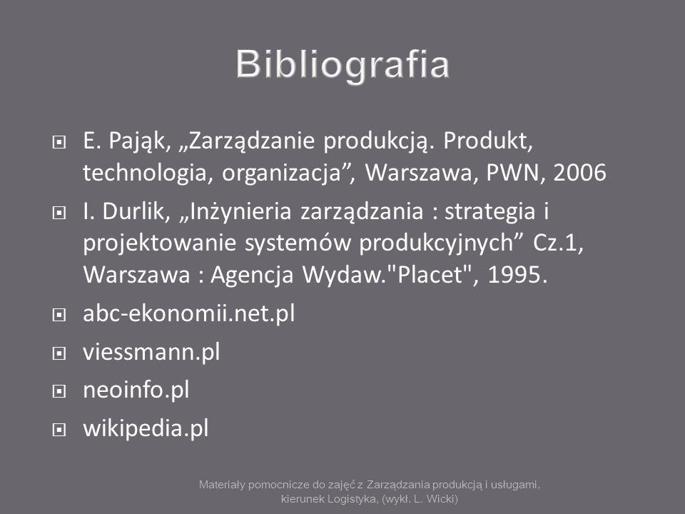 Materiały pomocnicze do zajęć z Zarządzania produkcją i usługami, kierunek Logistyka, (wykł. L. Wicki) E. Pająk, Zarządzanie produkcją. Produkt, techn