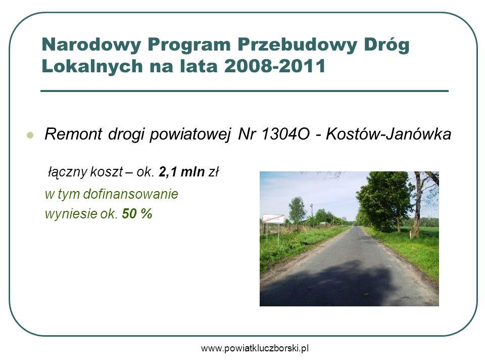 www.powiatkluczborski.pl Remont drogi powiatowej Nr 1304O - Kostów-Janówka łączny koszt – ok. 2,1 mln zł w tym dofinansowanie wyniesie ok. 50 % Narodo
