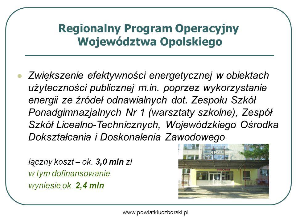 www.powiatkluczborski.pl Regionalny Program Operacyjny Województwa Opolskiego Zwiększenie efektywności energetycznej w obiektach użyteczności publiczn