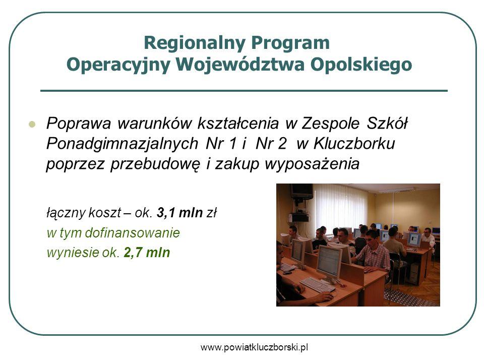 www.powiatkluczborski.pl Regionalny Program Operacyjny Województwa Opolskiego Poprawa warunków kształcenia w Zespole Szkół Ponadgimnazjalnych Nr 1 i N