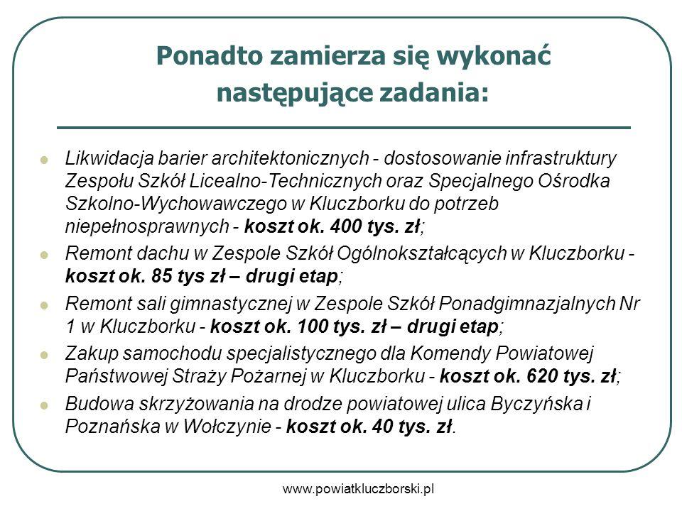 www.powiatkluczborski.pl Ponadto zamierza się wykonać następujące zadania: Likwidacja barier architektonicznych - dostosowanie infrastruktury Zespołu