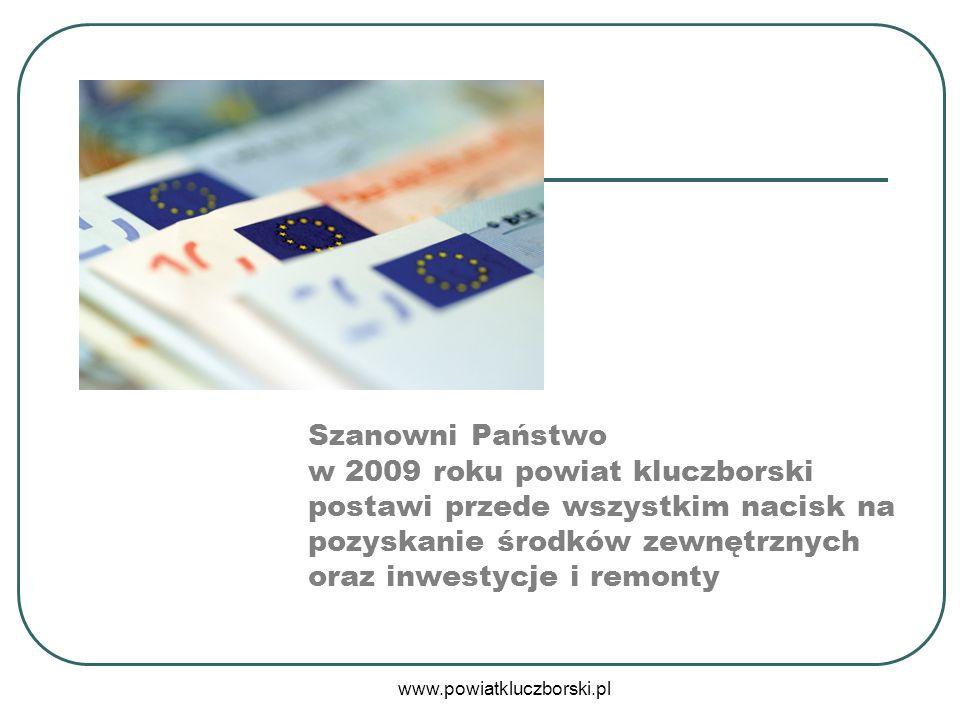 www.powiatkluczborski.pl Szanowni Państwo w 2009 roku powiat kluczborski postawi przede wszystkim nacisk na pozyskanie środków zewnętrznych oraz inwes