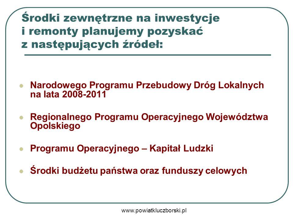 www.powiatkluczborski.pl Środki zewnętrzne na inwestycje i remonty planujemy pozyskać z następujących źródeł: Narodowego Programu Przebudowy Dróg Loka