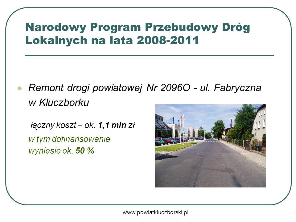 www.powiatkluczborski.pl Remont drogi powiatowej Nr 2096O - ul. Fabryczna w Kluczborku łączny koszt – ok. 1,1 mln zł w tym dofinansowanie wyniesie ok.
