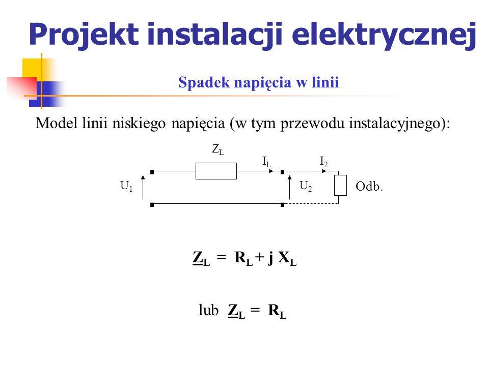 Projekt instalacji elektrycznej Model linii niskiego napięcia (w tym przewodu instalacyjnego): Spadek napięcia w linii.. U1U1 U2U2 ILIL ZLZL.. I2I2 Od