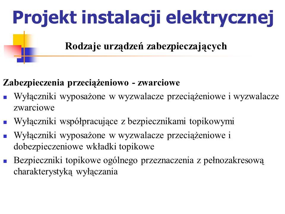 Projekt instalacji elektrycznej Zabezpieczenia przeciążeniowo - zwarciowe Wyłączniki wyposażone w wyzwalacze przeciążeniowe i wyzwalacze zwarciowe Wył