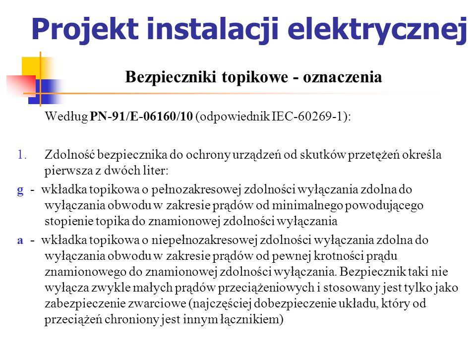 Projekt instalacji elektrycznej Według PN-91/E-06160/10 (odpowiednik IEC-60269-1): Zdolność bezpiecznika do ochrony urządzeń od skutków przetężeń okre