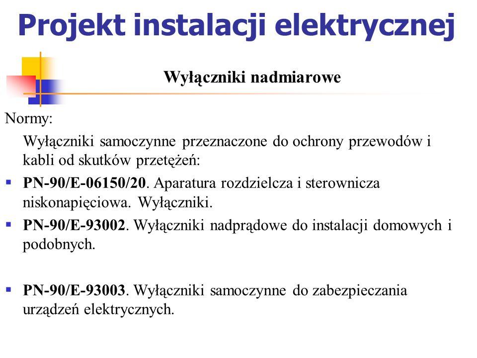Projekt instalacji elektrycznej Normy: Wyłączniki samoczynne przeznaczone do ochrony przewodów i kabli od skutków przetężeń: PN-90/E-06150/20. Aparatu