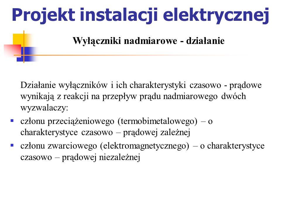 Projekt instalacji elektrycznej Działanie wyłączników i ich charakterystyki czasowo - prądowe wynikają z reakcji na przepływ prądu nadmiarowego dwóch