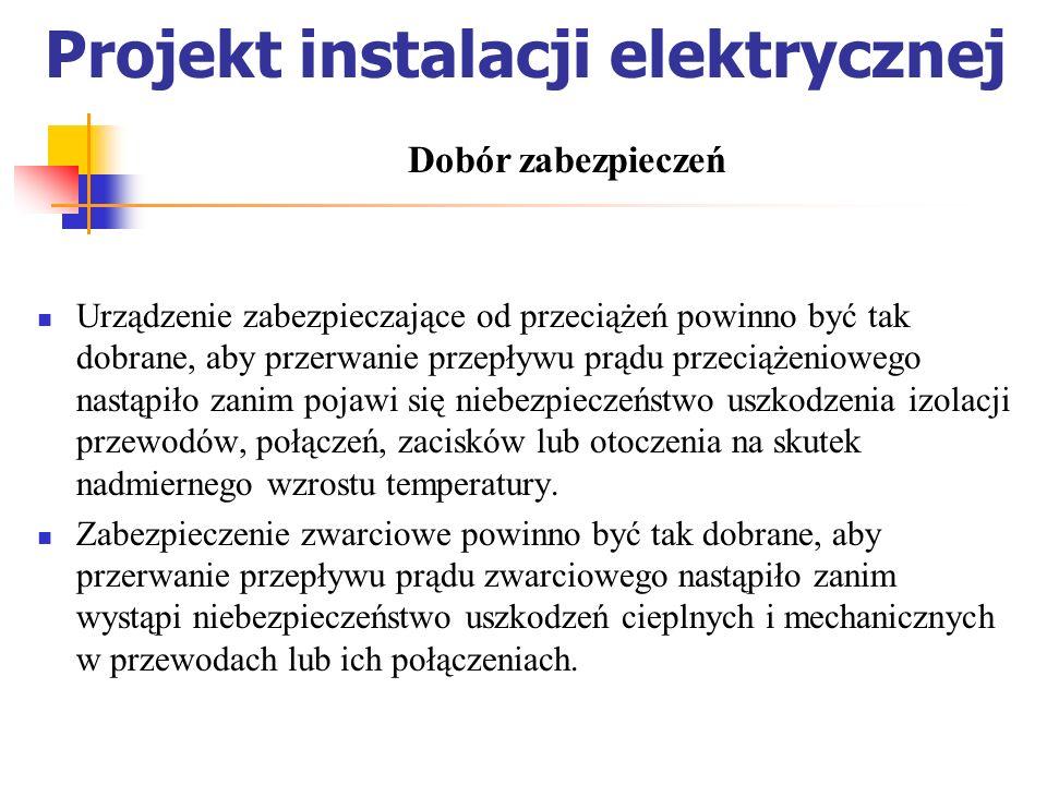 Projekt instalacji elektrycznej Urządzenie zabezpieczające od przeciążeń powinno być tak dobrane, aby przerwanie przepływu prądu przeciążeniowego nast