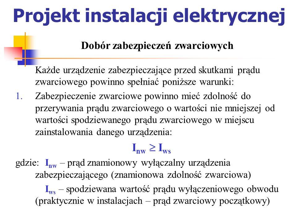 Projekt instalacji elektrycznej Każde urządzenie zabezpieczające przed skutkami prądu zwarciowego powinno spełniać poniższe warunki: Zabezpieczenie zw