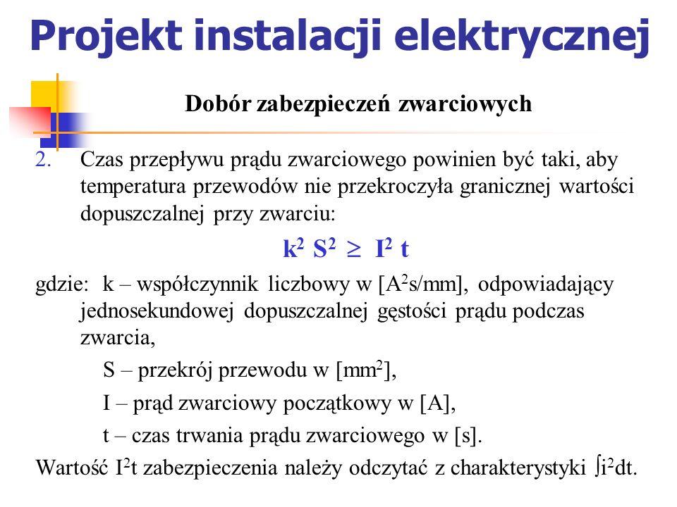 Projekt instalacji elektrycznej Czas przepływu prądu zwarciowego powinien być taki, aby temperatura przewodów nie przekroczyła granicznej wartości dop
