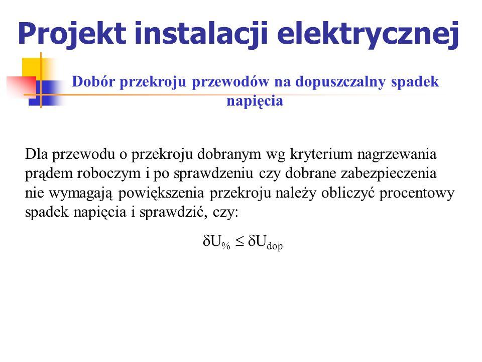 Projekt instalacji elektrycznej Dobór przekroju przewodów na dopuszczalny spadek napięcia Dla przewodu o przekroju dobranym wg kryterium nagrzewania p