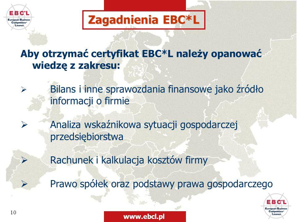 10 Zagadnienia EBC*L Aby otrzymać certyfikat EBC*L należy opanować wiedzę z zakresu: Bilans i inne sprawozdania finansowe jako źródło informacji o fir