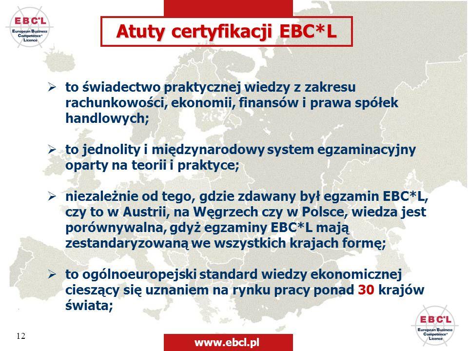 12 Atuty certyfikacji EBC*L to świadectwo praktycznej wiedzy z zakresu rachunkowości, ekonomii, finansów i prawa spółek handlowych; to jednolity i mię