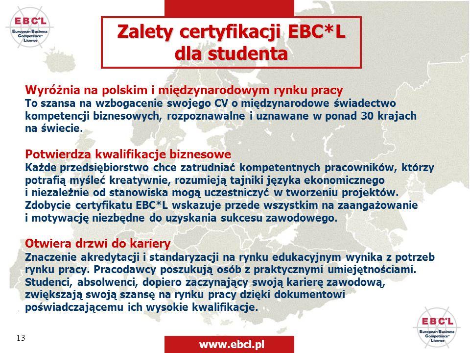 13 Zalety certyfikacji EBC*L dla studenta Wyróżnia na polskim i międzynarodowym rynku pracy To szansa na wzbogacenie swojego CV o międzynarodowe świad