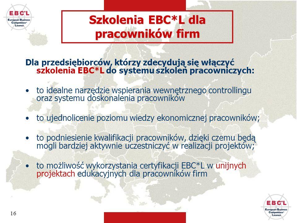 16 Dla przedsiębiorców, którzy zdecydują się włączyć szkolenia EBC*L do systemu szkoleń pracowniczych: to idealne narzędzie wspierania wewnętrznego co