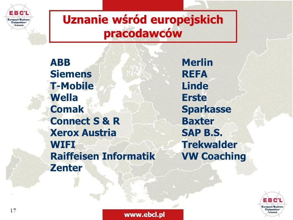 17 Uznanie wśród europejskich pracodawców ABB Siemens T-Mobile Wella Comak Connect S & R Xerox Austria WIFI Raiffeisen Informatik Zenter Merlin REFA L