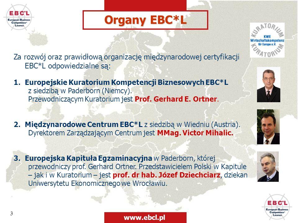 3 Organy EBC*L Za rozwój oraz prawidłową organizację międzynarodowej certyfikacji EBC*L odpowiedzialne są: 1. Europejskie Kuratorium Kompetencji Bizne