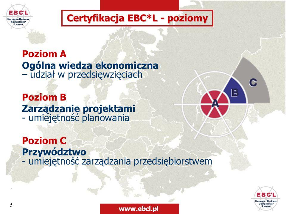 5 Poziom A Ogólna wiedza ekonomiczna – udział w przedsięwzięciach Poziom B Zarządzanie projektami - umiejętność planowania Poziom C Przywództwo - umie