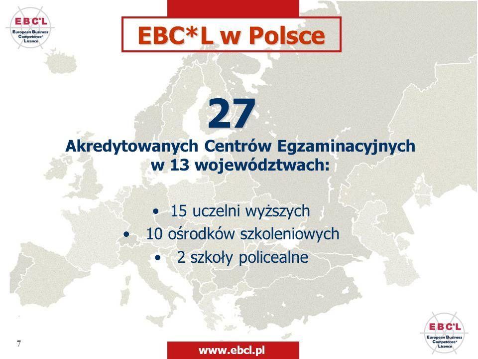 7 27 27 Akredytowanych Centrów Egzaminacyjnych w 13 województwach: 15 uczelni wyższych 10 ośrodków szkoleniowych 2 szkoły policealne EBC*L w Polsce ww