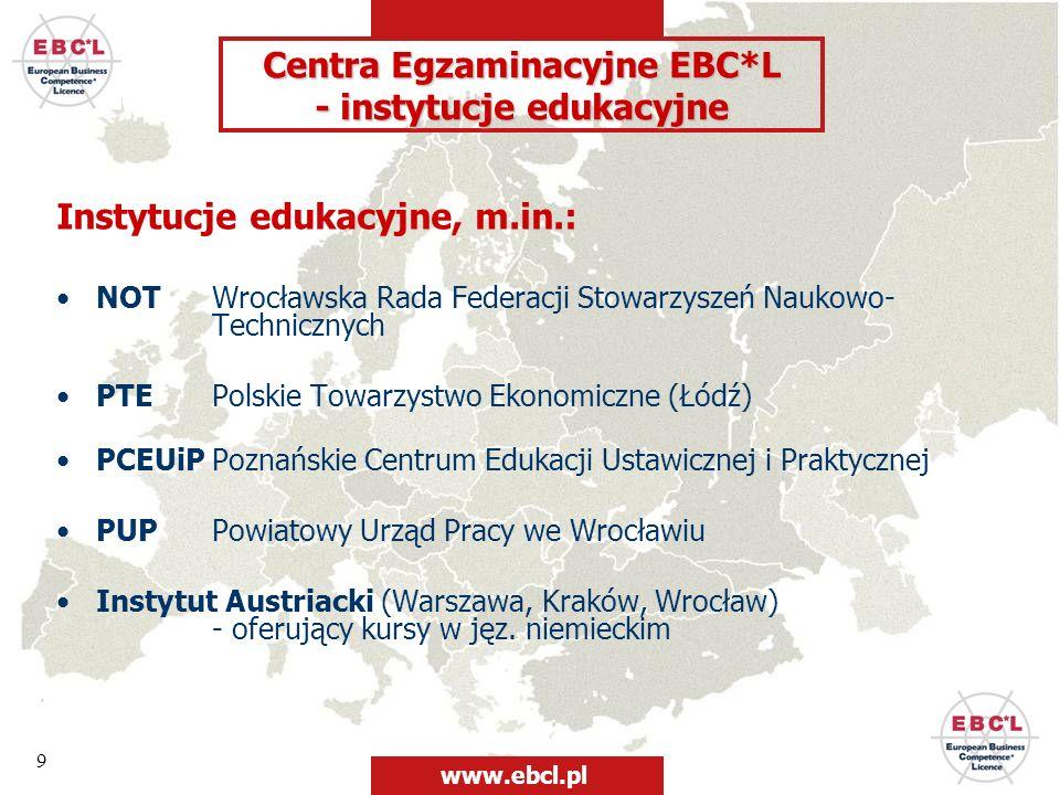 9 Instytucje edukacyjne, m.in.: NOT Wrocławska Rada Federacji Stowarzyszeń Naukowo- Technicznych PTE Polskie Towarzystwo Ekonomiczne (Łódź) PCEUiP Poz