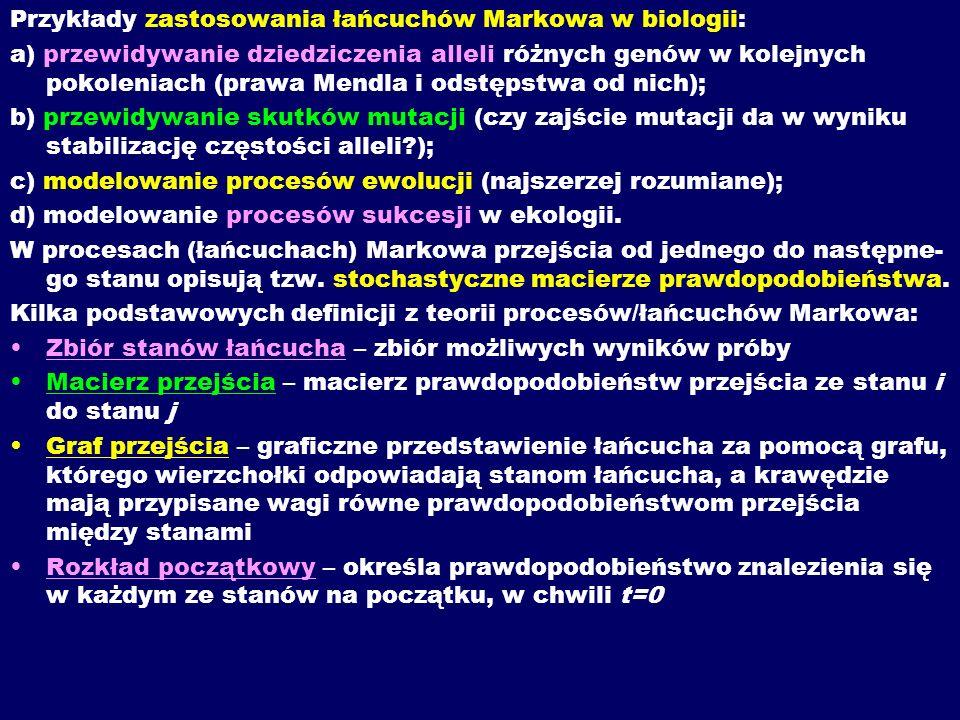 Przykłady zastosowania łańcuchów Markowa w biologii: a) przewidywanie dziedziczenia alleli różnych genów w kolejnych pokoleniach (prawa Mendla i odstę